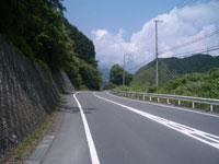興津川沿いの道