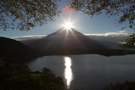 湖面に光の道