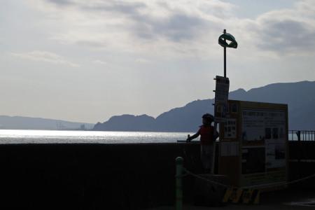 海を眺める息子