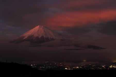 15日夕暮れと富士山
