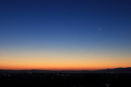 富士川S.A.からの月と金星