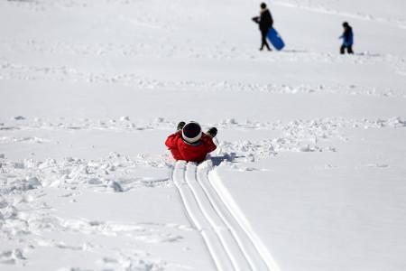 新雪を滑る
