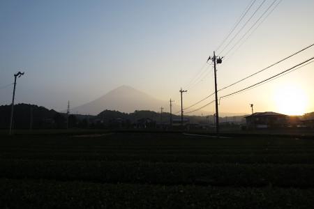富士山と朝日