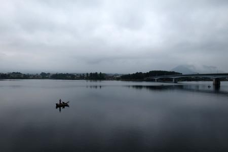 河口湖大橋付近