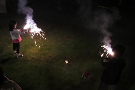 自宅での花火