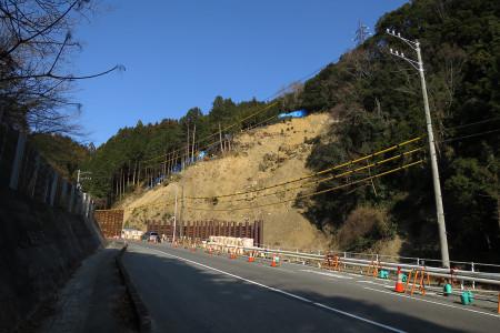 台風18号による崖崩れ現場