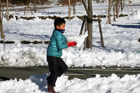 あさぎりフードパークでの雪遊び