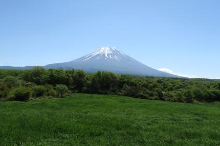 薄っすら雪が積もった富士山
