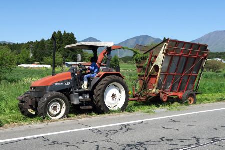 牧草刈りの光景