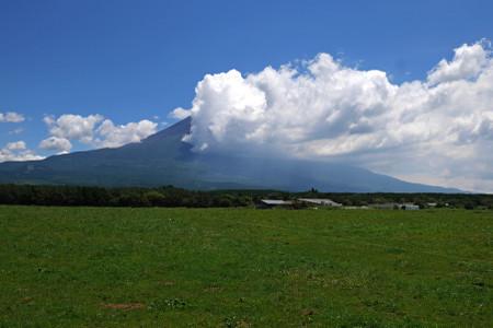 朝霧高原牧草地からの富士山